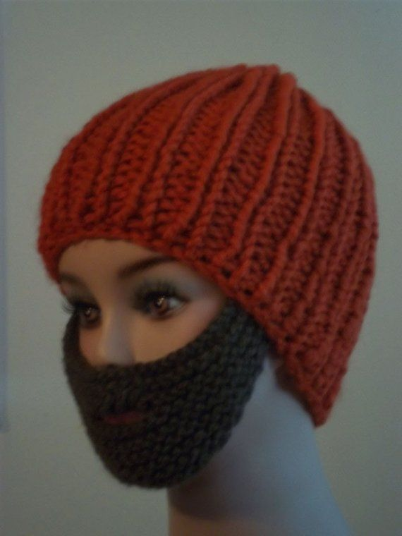 Hand Knit Beard Pattern For Bearded Beanie | Knitted beard ...