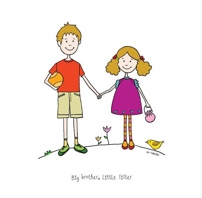 Big Brother Little Sister Digital Art Print Siblings Drawing