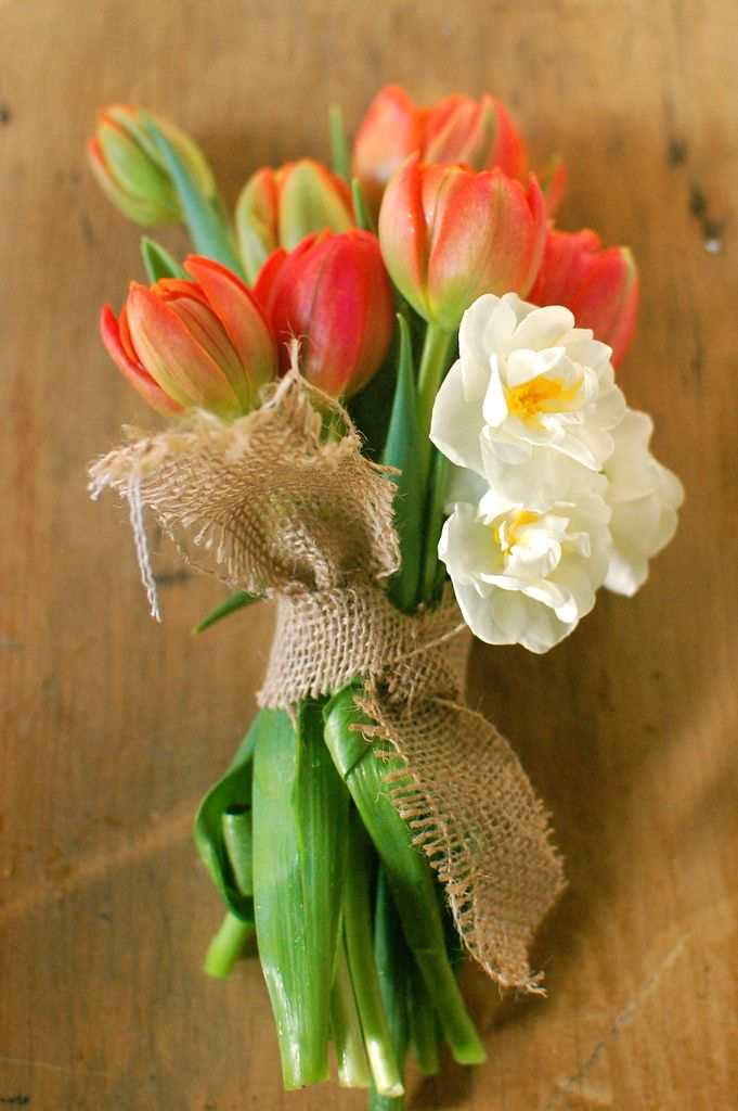 Beautiful simply wrapped bouquet by Chelsea Fuss for Project Wedding.: Tulip Bouquets, Spring Flowers, Burlap Ribbons, Wedding Bouquets, Spring Bouquets, Projects Wedding, Wedding Flowers, Yellow Tulip, Simple Wedding