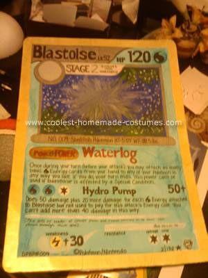 Homemade Blastoise Pokemon Card Costume
