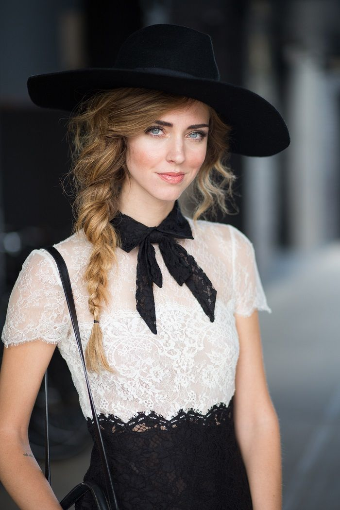 This look so nicely balances the masculine (structured, black and white, bow tie, hat) with the feminine (lace, side braid). Gorgeous!