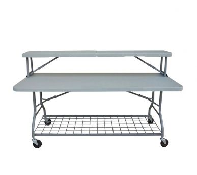 BUFFET SERVERY: Table with wheels and upper shelf which fixes onto the table top. It also has a lower storage rack manufactured in powder coated steel.