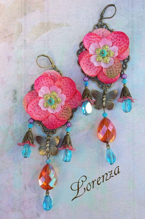 Boucles bohême shabby romantiques fleurs rose et par lorenza33