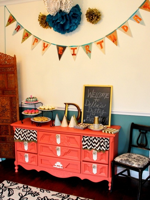 Coral Dresser Used In The Dining Room