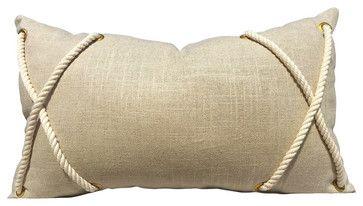 Lumbar Linen Rope Pillow Cover beach-style-decorative-pillows