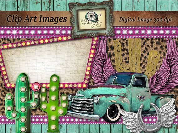Boho Western Clipart Turquoise Chevy Truck Pink Marquee Light Sign Bling Horseshoe Wings Trio