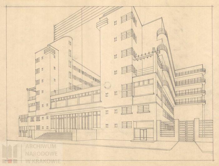 Projekt pensjonatu Bristol w Krynicy, 1928 r.,