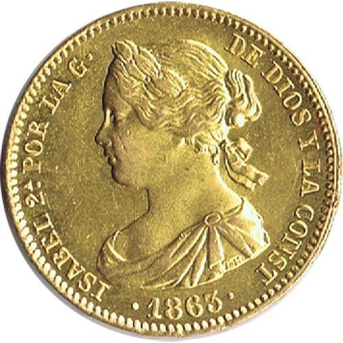 Moneda de oro 100 Reales Isabel II 1863 Madrid.