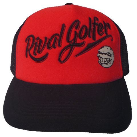 Bright, bold and all about Rival Golfer.This simple 'trucker hat' design is to be worn beyond the golf course. Being black front and back but with a red front panel it's too cool not to be worn all the time!Specifics – - Black snapback design- Rival Golfer is embroidered- Logo is printed
