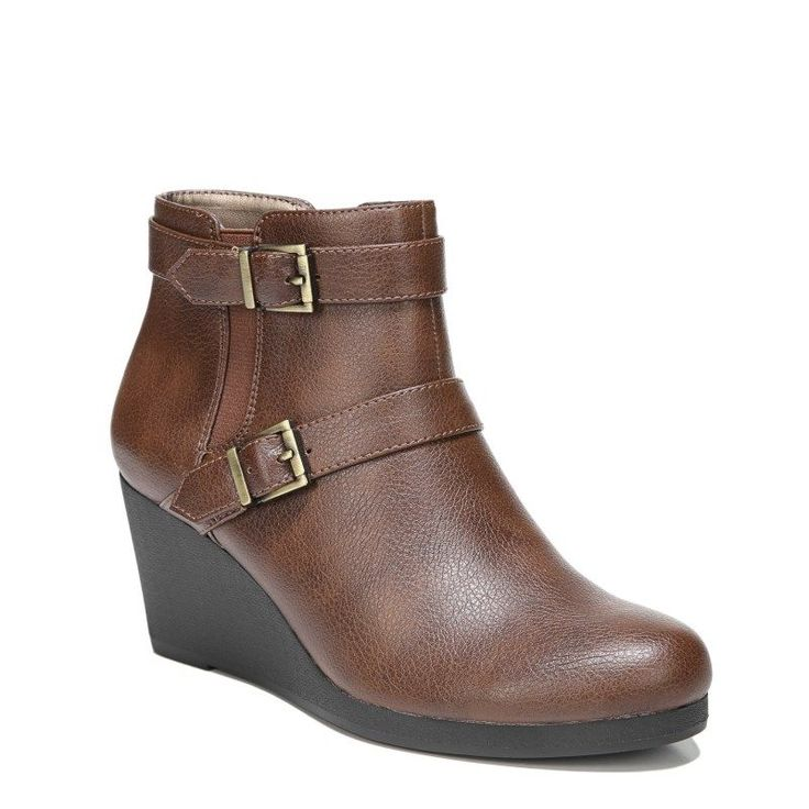 Lifestride Women's Neeva Medium/Wide Wedge Booties (Dark Tan)