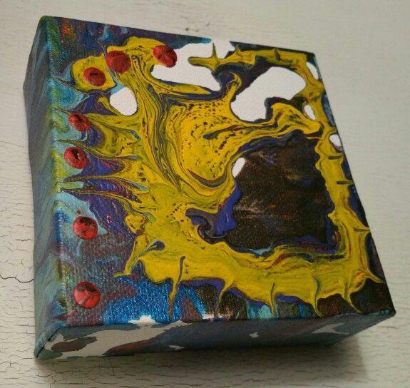 The Traveler's  Liar Liar Pants on Fire. Fluidacrylic, stapled canvas, original artwork, pnw, abstract