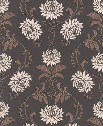 grahambrown wallpaper  Brunt tapet støtter dit CENTER-område. Her tilføres også elementet TRÆ (pga. blomsterne) og en smule METAL (de hvide blomster).