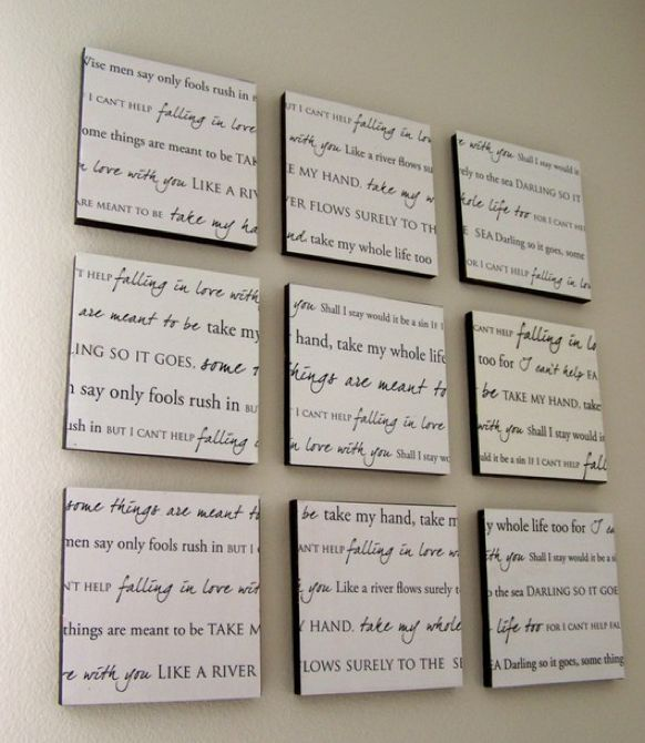 Wedding song on your wall or a favorite verse or saying