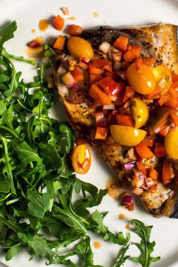 Grilled swordfish with smoky tomatoanchovy salsa recipe