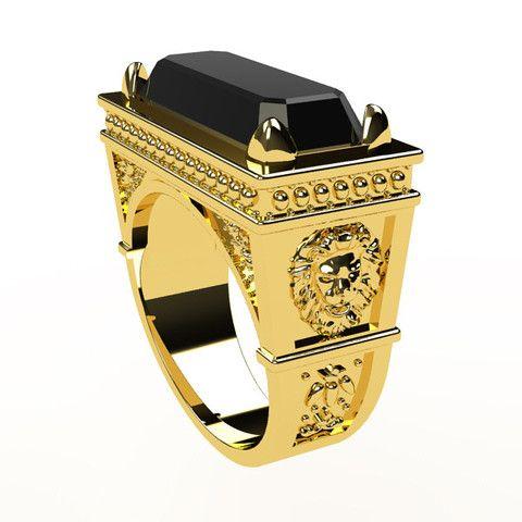 Chevalière en Or jaune 18 carats avec pierre d'onyx naturelle et moulure de lion