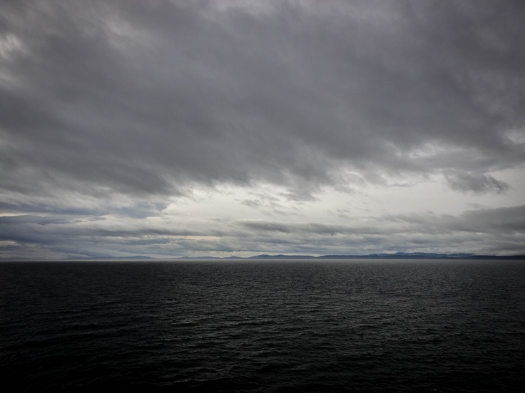 Gloomy morning weather.  On the ferry towards Vancouver Island.