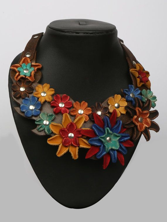 Leather Flower Choker/Bib Necklace by LeatherAX on Etsy
