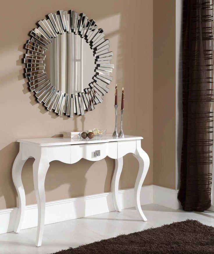 espejo decorativo redondo de cristal con marco de pequeos espejos biselados en forma de rayos