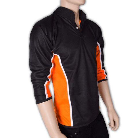 "Men's ""Falcon"" Full Reversible Full Sleeve Sports Polo-Black,Orange"