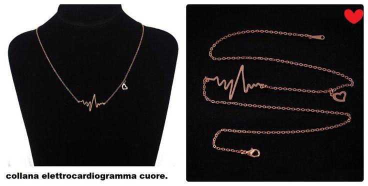 COLLANA BATTITO CARDIACO ELETTROCARDIOGRAMMA,Heart Beat Necklace,color oro,nuovo