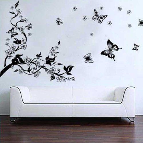 BestOfferBuy – Sticker Mural Illustré par un Arbre Romantique et des Papillons (Décalcomanie): BestOfferBuy – Sticker Mural Illustr? par un…