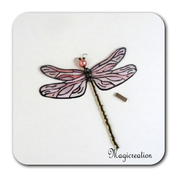 MAGNET LIBELLULE TRANSPARENTE ROSE-DEMOISELLE - Boutique www.magicreation.fr