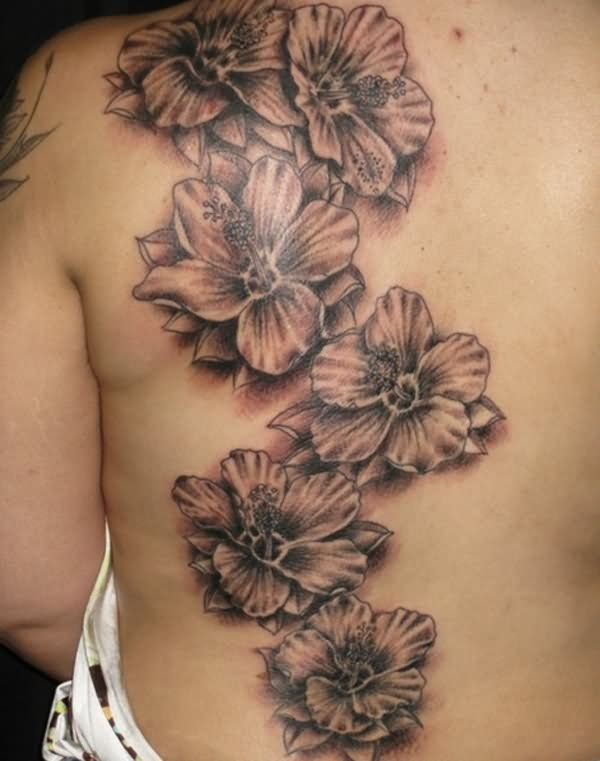 Grey Ink Hibiscus Flower Tattoos On Back