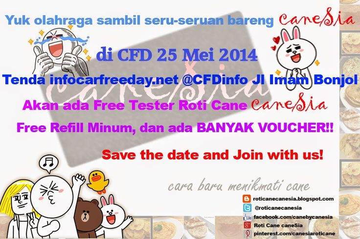 Event Car Free Day (CFD) Tanggal 25 Mei 2014 Di Tenda infocarfreeday[dot]net Jl. Imam Bonjol, Jakarta #canesia #roticane #kuliner #Indonesia #Jakarta #cemilan #deliveryfood #deliveryorder #bazaar #garagesale #event