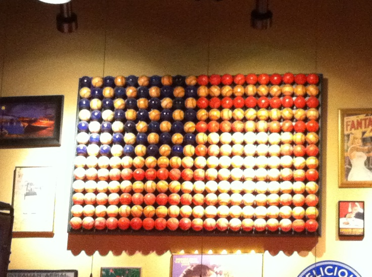 Texas Man Cave Decor : American flag using baseballs wall decor this old house