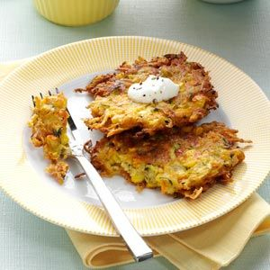 Garden Potato Pancakes Recipe from Taste of Home -- shared by Peggy Roos of Minneapolis, Minnesota