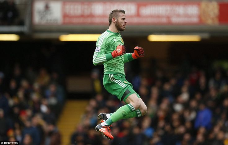 Manchester United goalkeeper De Gea celebrates after his team scored a late second-half wi...