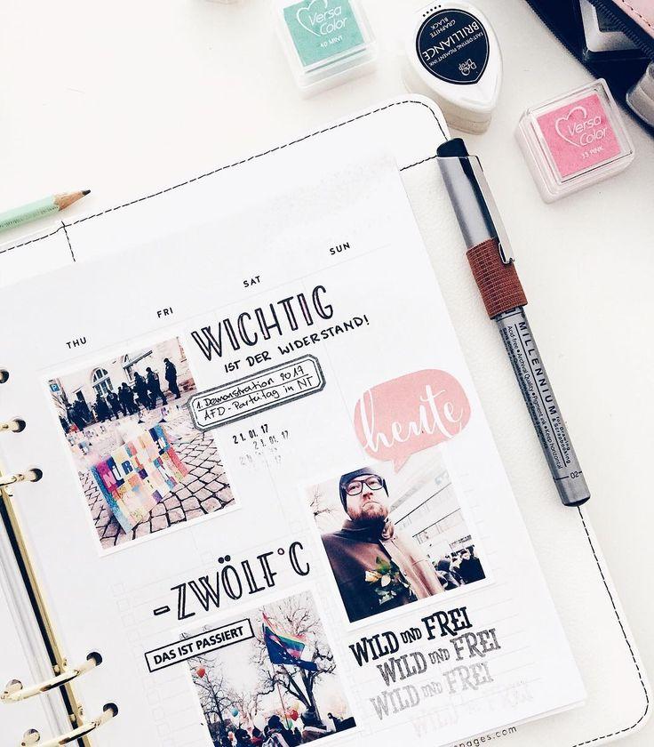 Eine neue Seite meines Memory Keeping im Terminplaner: die zweite Wochenhälfte... wieder mit mehreren Momentaufnahmen eines einzigen Tages und dekoriert unter anderem mit der 'Rilke' Buchstaben Stempelplatte aus dem #papierprojekt Shop. -- Stempel & Stempelkissen: @papierprojekt Planer: @websterspages Inserts: @studio_calico -- Mehr Einblicke in dieses Projekt findest unter dem Hashtag #MomenteplanerFelicitas
