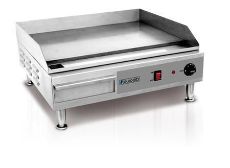 """SFE04900 Electric Griddle With Dial Thermostat Splash Guard Adjustable Feet and 22"""" Depth Cooking Surface."""