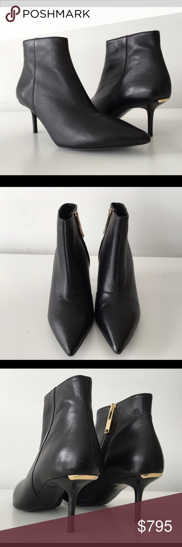 "BURBERRY MANOR BLACK LEATHER KITTEN HEEL BOOTS BURBERRY MANOR BLACK LEATHER KITTEN HEEL BOOTS, SIZE 36, HEIGHT HEEL 2.75"", MADE IN ITALY, POINTED TOE, LEATHER LINING AND SOLE, METAL LOGO DETAIL ON BACK, BRAND NEW WITH BOX AND DUST BAG Burberry Shoes Ankle Boots & Booties"