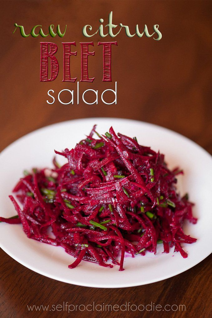 Raw Citrus Beet Salad - Self Proclaimed Foodie 3 medium to large beets, peeled and trimmed* 1 valencia orange with zest 1 lime with zest 2 tablespoons olive oil salt to taste ½ cup chives, minced