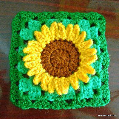 Sunflower granny square - free pattern