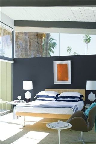 Look at the paint color combination I created with Benjamin Moore. Via @benjamin_moore. Bedroom Wall: Hale Navy HC-154; Ceiling: Patriotic White 2135-70.
