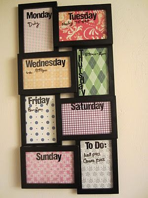 ..make this day of the week dry erase board from picture frames, using scrapbook paper and stickers (to spelling the day) as the photos then decorating the outer frame part with fabric flowers.