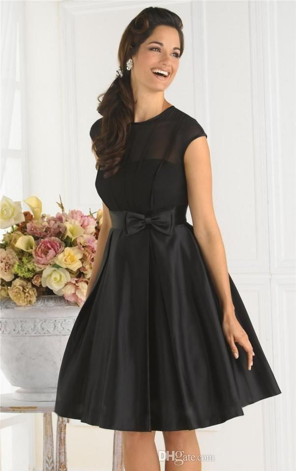 2016 Simple Cheap Black Cocktail Dress A Line Jewel Cap Sleeves Knee Length Bow Satin Party Dresses Short Bridesmaid Dresses Petite Party Dress Plus Size Holiday Party Dresses From Alberta_bridal, $61.51| Dhgate.Com
