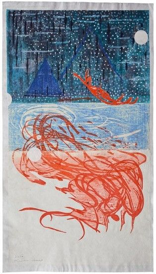 Verse · Sukumu 2-3-12 woodblock with stencil by Keiko Hara