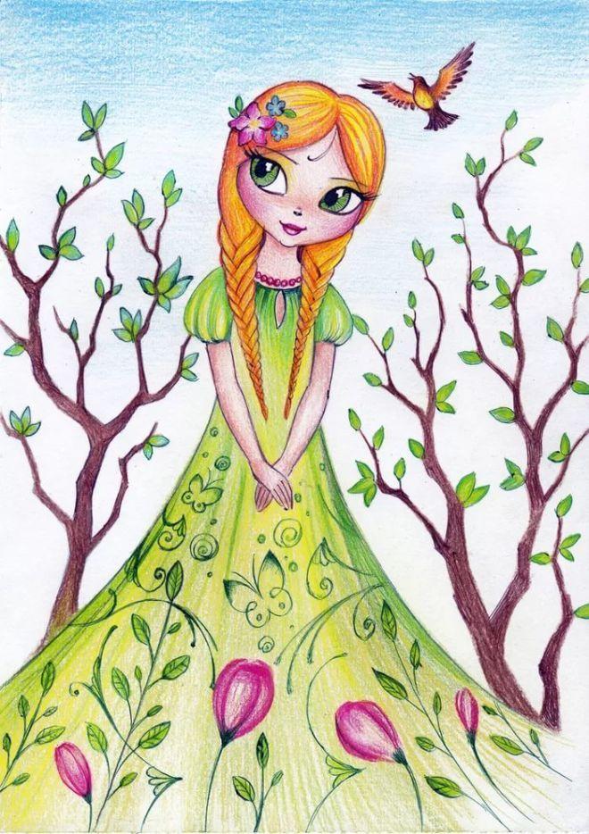 девушка весна рисунок для детей: 19 тыс изображений найдено в Яндекс.Картинках | Художественные проекты, Рисунки фей, Детские рисунки