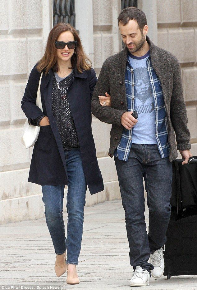 Arm-in-arm: Actress Natalie Portman and her husband, French dancer and choreographer Benjamin Millepied are spotted in Venice, Italy, looking very much in love