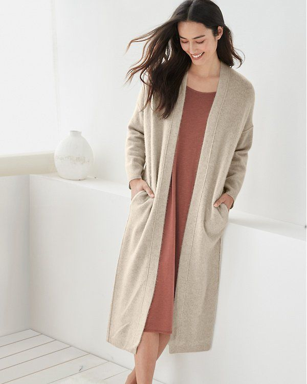 Eileen Fisher S Brushed Cashmere Is Sublimely Soft And Warm And Offers You An Invitation To Indulge In Luxurious Comfort Cashmere Robe Eileen Fisher Cashmere