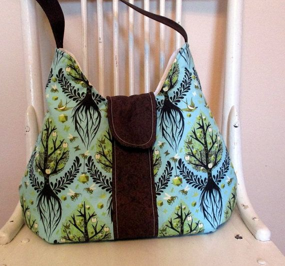 Tula Pink Shoulder Bag  Quilted Purse   Blue And by bungalowquilts