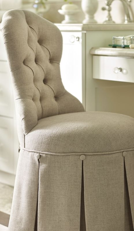 From the button tufted Louis-style chair back, to a gracefully draped pleated skirt, the Sabrina Vanity Stool exudes elegance from every beautiful detail.