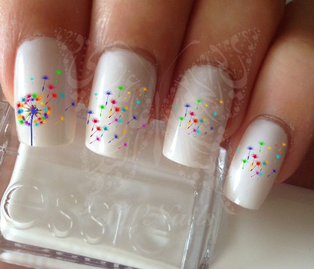 Nail Art Rainbow Dandelion Nail Water Decals Transfers Wraps – Sweetworldofnails