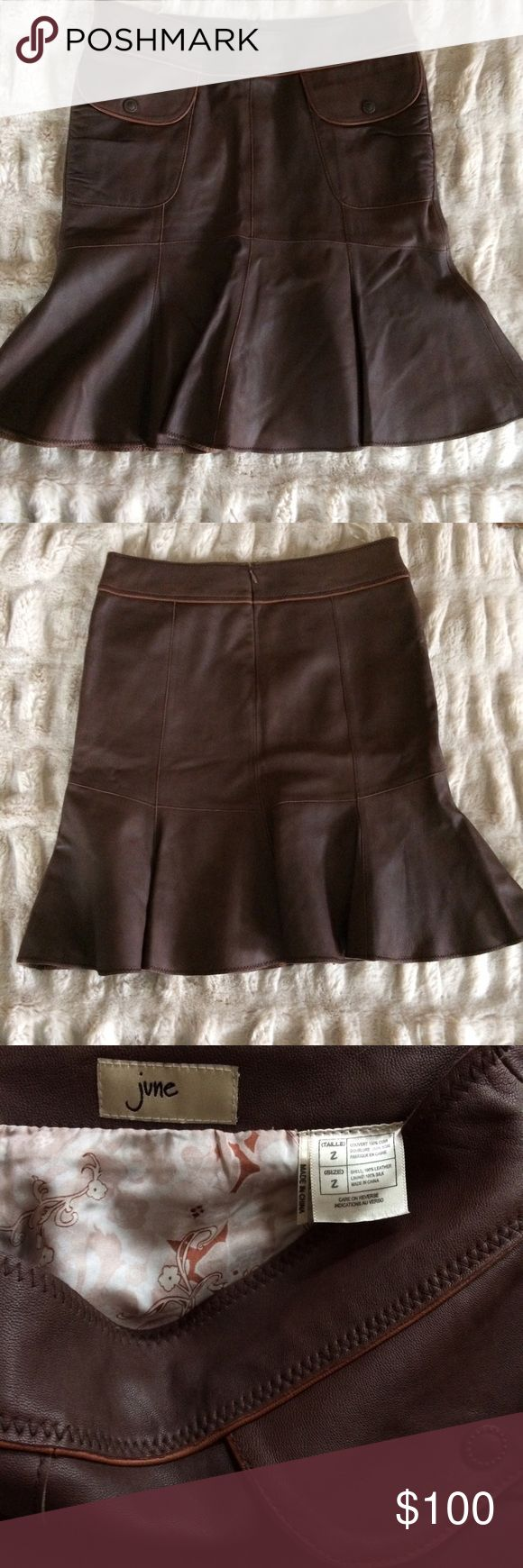"""Anthropologie June Leather Skirt Beautiful rich soft chocolate brown leather skirt -fitted then subtle mermaid/tulip type flare shape. 2 pockets with snap-down flaps in front, back zipper, and pretty printed lining.  100% leather with 100% silk lining.  Overall length is 20"""" (hits just above knee on me -I'm 5'6"""" for reference).  EUC/like new/no flaws! Anthropologie Skirts"""