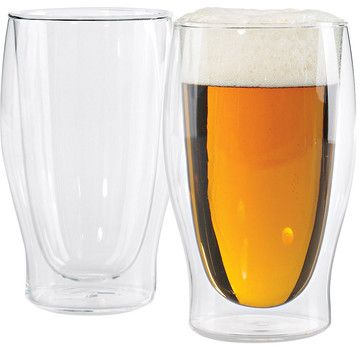 Wine Enthusiast Steady-Temp Double Wall Beer Glasses contemporary barware