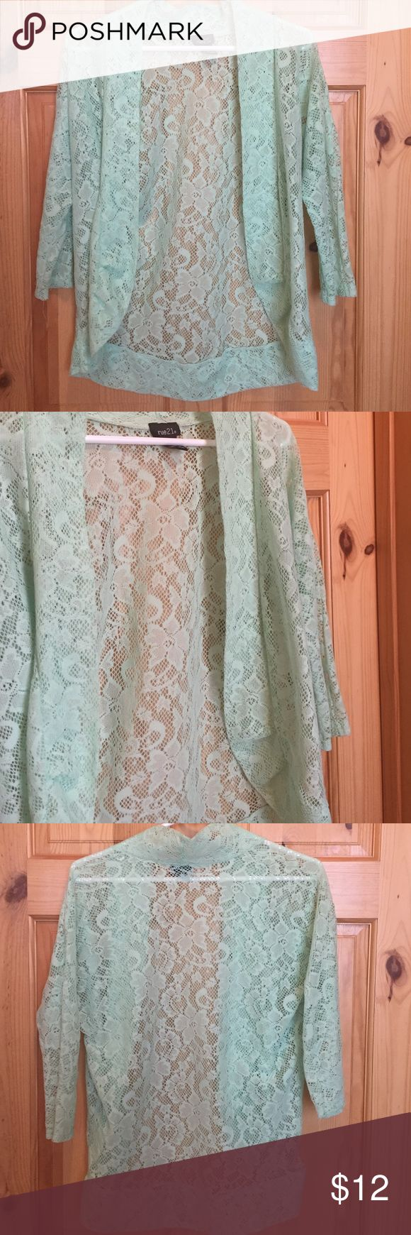 Beautiful lace shrug Really pretty teal lace shrug from Rue 21. I've only worn it once. Rue 21 Tops