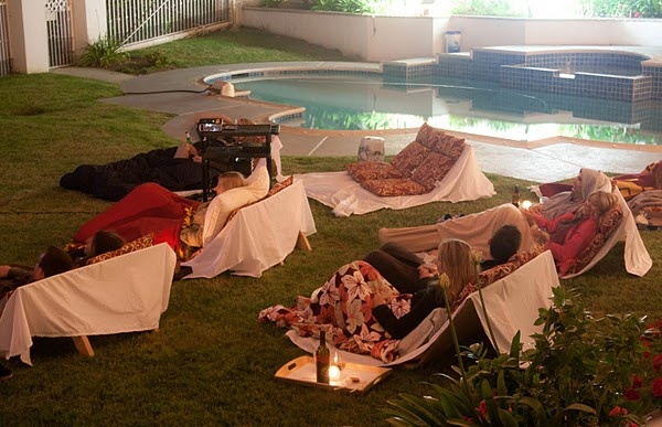Best out door movies party ever!!! I love the seats they made, great decor and theme, they even had a Hollywood sign!! All fairly simple easy ideas tied together nicely!!!
